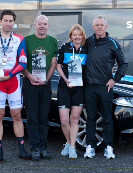 Shane Sutton poses with last year's winners Charlie Revell, Cathy Anderson and Jeremy Wooton