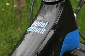 A bit of inspiration that graces the top tube of all Niners