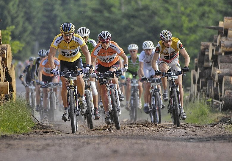 Competitors in the 2007 Trans Germany set out in the sunshine & dust