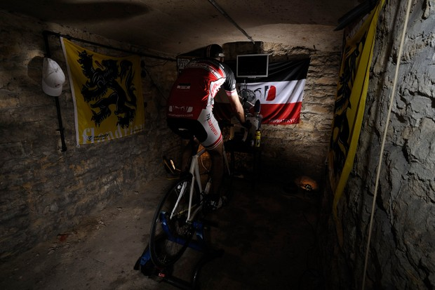 pro cyclist in basement training