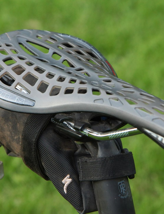 Tioga's Spyder Stratum saddle looks like a torture device but it's actually very comfortable as there's copious amounts of flex available. Tioga could tighten up the spacing on the 'SpiderWeb' surface, though, as I could feel the holes through my chamois