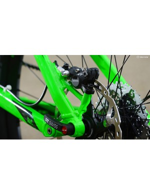 Cube uses its version of the Syntace axle system on nearly all its high-end bikes now. The axle threads into a conically seated mech hanger, which doesn't require putting a split in the frame to form a clamp. This means lighter frames and neater design, as well as a common mech hanger