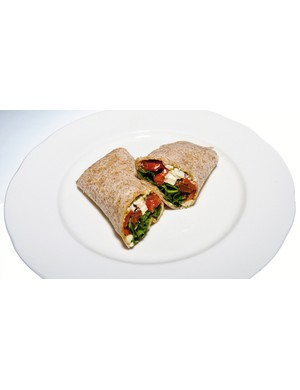 A feta, sweet potato and red chilli wrap is a tasty low-fat and high-carb treat
