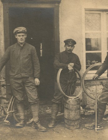 German soldiers prepare bicycles for reconnaissance in the early part of the Great War