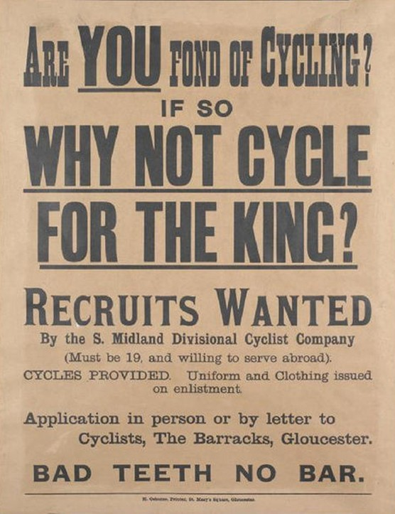 A British recruiting poster that called for cyclists to join the British Army