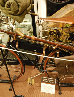 An American Columbia bicycle that was developed for the United States Army in advance of the First World War. This bicycle is in the collection of the Bicycle Museum of America