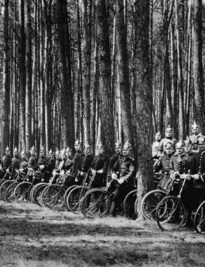 German soldiers in a pre-war training exercise with bicycles – apparently the Germans opted not to use the bicycle in place of cavalry during the August 1914 invasion of Belgium and France, so it must be considered whether things might have turned out differently had the bicycle been deployed