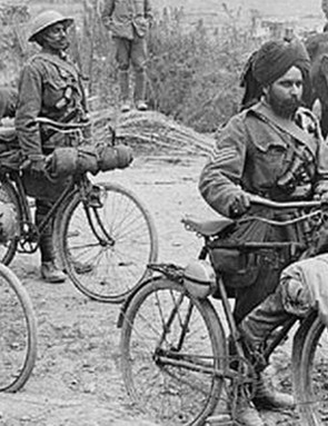 Indian Sepoys (soldiers) serving on the Western Front in 1916 used the bicycle in a messenger and reconnaissance role