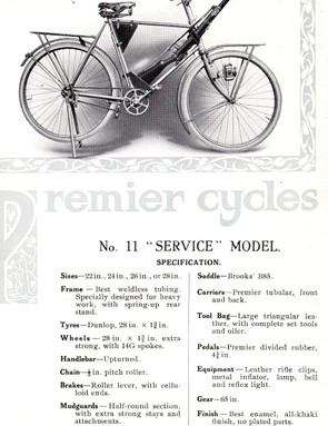 A war-time advertisement from Premier Cycles – bicycles were offered as a private purchase item for officers, and sold to the public after the war