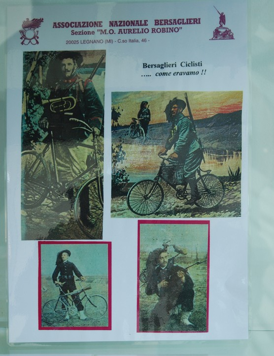 Various period photos of the Italian Bersaglieri troops at the Italian Cyclist Museum & Hall of Fame