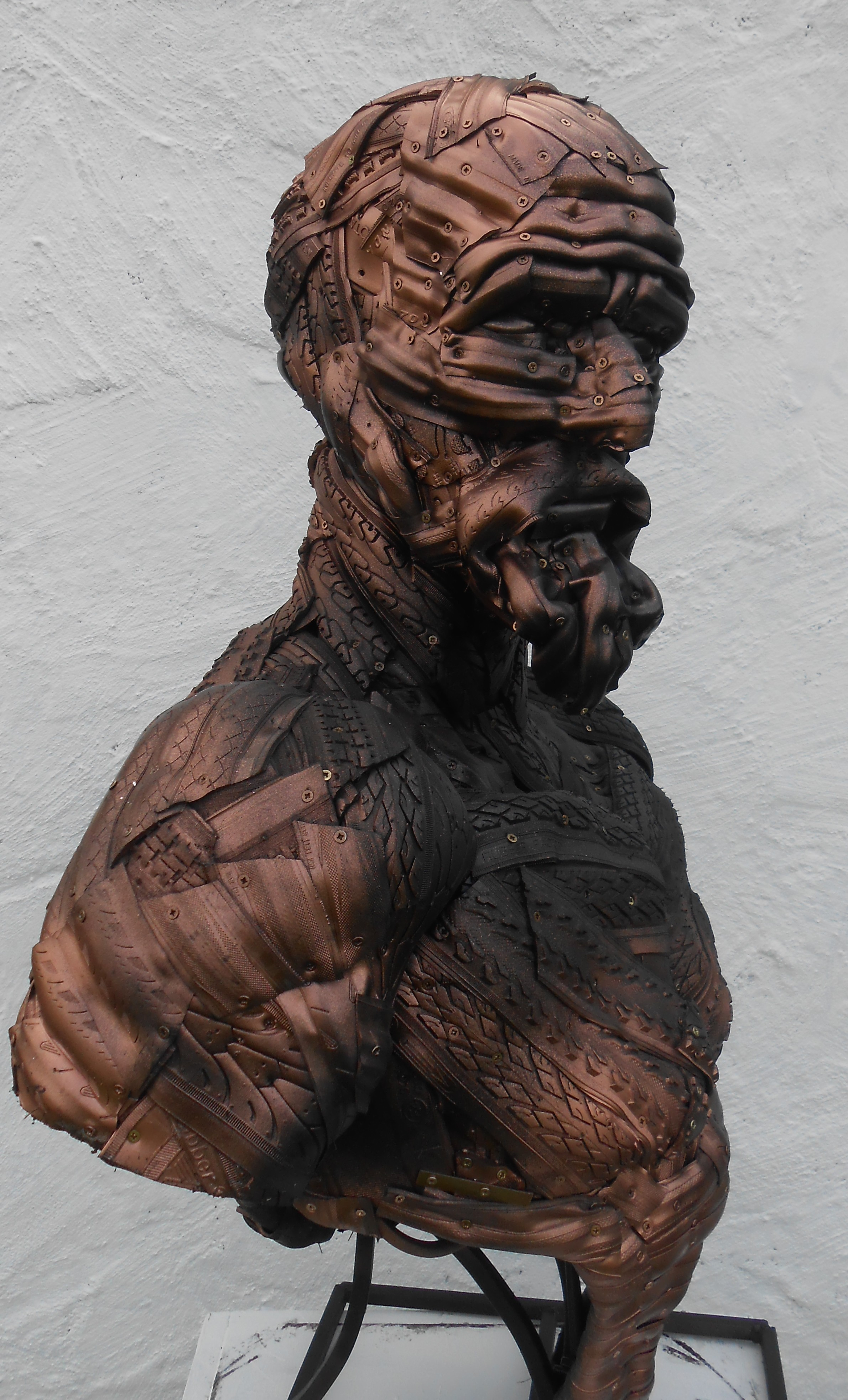 'Diogenes' is Davis' first human form created with recycled tyres