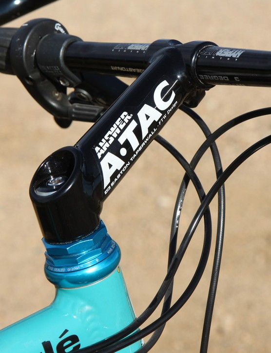 The team-issued Answer ATAC TIG-welded aluminum stem was more liberally machined as compared to stock versions to save a few grams