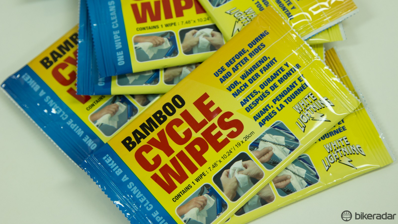The White Lightning Bamboo wipes are small enough to stash inside your saddle bag or pocket incase of a dirty repair