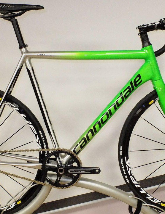 Cannondale go back on track for 2015 with this stunning CAAD10 6069 alloy bike. £1499.99 buys you the frame with Mavic's Ellipse Track wheelset and SRAM Omnium track crank and colour coded saddle