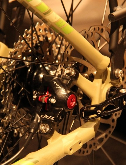 The rear brake caliper on the Trek 920 is tucked neatly between the stays