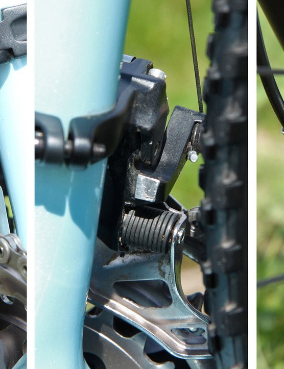 More mechanic tricks are found when you look closer. The front derailleur has a small pad secured inside the cage to cut down on noise while the unused bottom-pull arm is sawed off to save weight. Meanwhile, the retaining clip for the brake pad pin and the cover for the bleed port are omitted for faster servicing