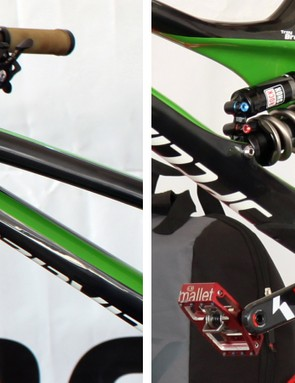 The back half of the main triangle - arguably the heart of the bike - looks massive, suggesting that the frame will be very stiff from front-to-back for precise handling. Bump stops are built into the carbon fiber front triangle, although neither Aaron Gwin nor Troy Brosnan were using them at Windham