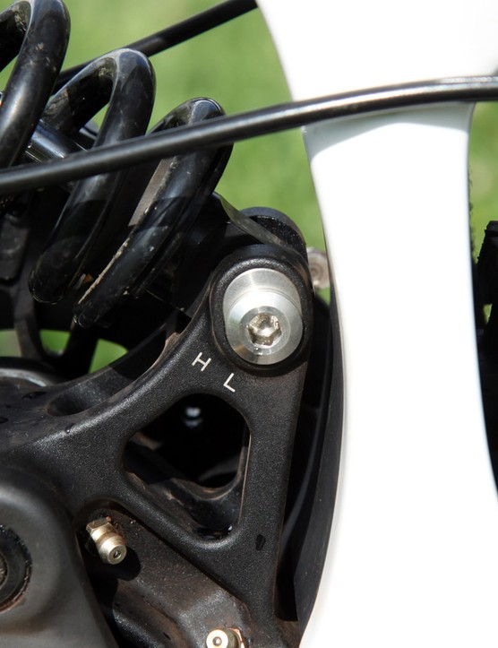 Two mounting positions for the rear shock allow for tunable geometry