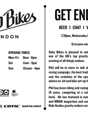 Soho Bikes will be hosting an evening with Pro Ride Guides on 13 August