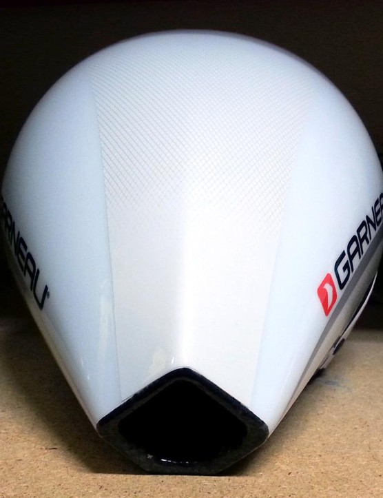 The helmet is slender at the rear too