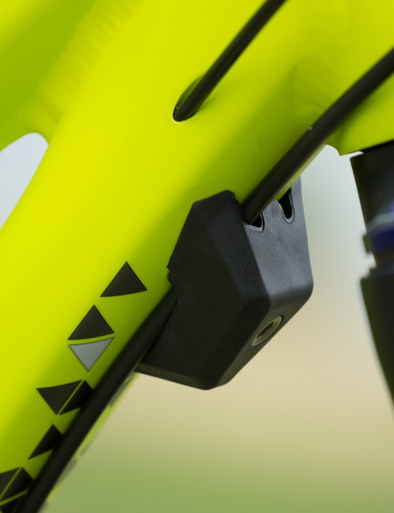 The Specialized Rumor features this rubber bumper to stop the fork or handlebars damaging the frame in the event of a fall