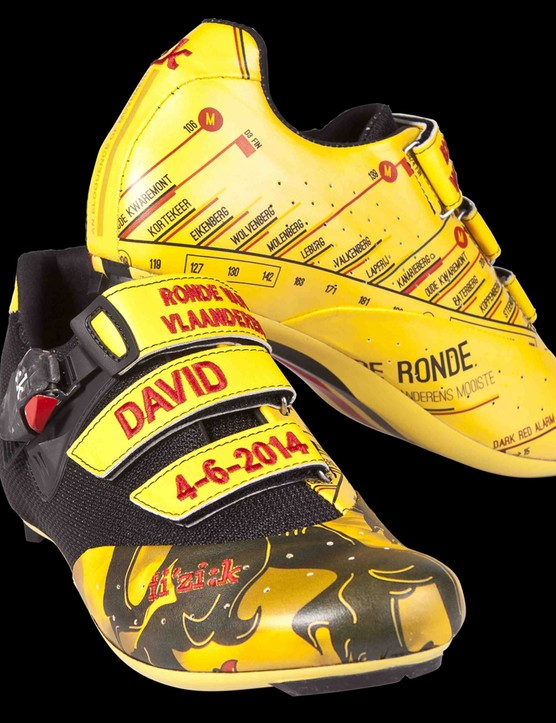 The Tour of Flanders shoes feature the Flemish region's lion symbol on the toebox