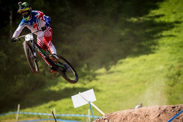 The American crowd were hoping for a home winner, but Troy Brosnan (pictured) and Aaron Gwin couldn't quite match Josh Bryceland's pace. At least the Brit won on an American bike!