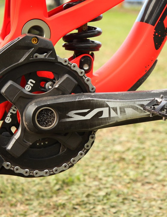 The Shimano Saint cranks are bolstered with an e13 LG1+ chain guide