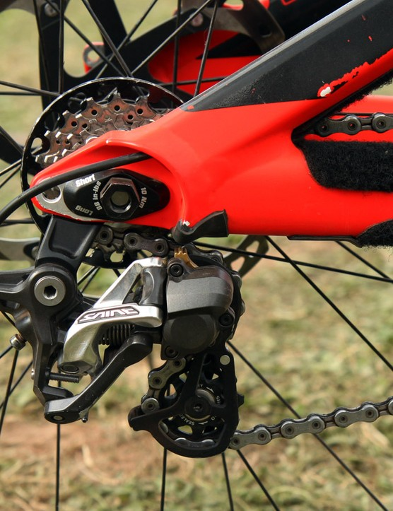Fairclough uses the direct mount option for the Shimano Saint rear derailleur. We find it hard to believe that the hanger and derailleur can actually flex enough to hit the chain stay but there's a bit of stick-on rubber padding in place just in case
