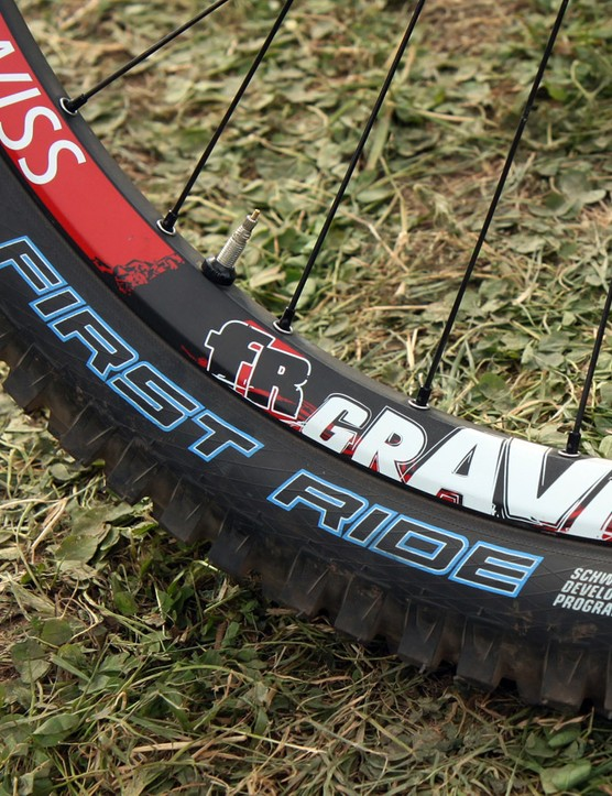 We weren't able to get details on what sort of secret rubber compounds Schwalbe used for Fairclough's front tyre but it certainly smelled different