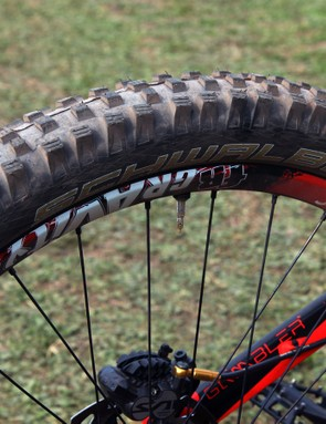 The rear tyre is a standard Schwalbe Magic Mary but again with the company's trick new dual-chamber tubeless system