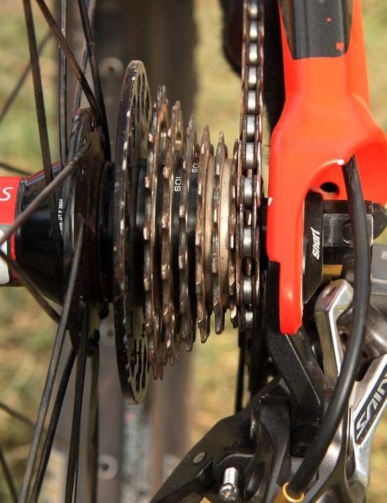 Fairclough uses just seven cogs on his Shimano Ultegra cassette. Given how common the practice is, we're surprised DT Swiss hasn't made a downhill-specific rear hub with a shorter freehub body and wider hub shell to increase the spoke bracing angles