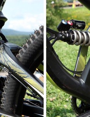The split seat tube straddles the big rear shock. Note how the rear brake hose and rear derailleur housing is neatly routed through the gap, too