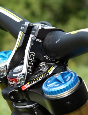 The PRO direct-mount stem is mounted in the short position here. Note the tricky machined bolt heads, too