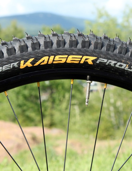 Atherton used Continental DerKaiser Project 2.4 rubber front and rear at Windham