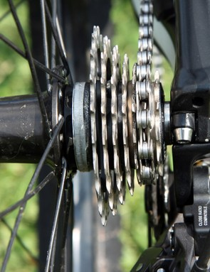 Like many top downhillers, Atherton uses an abbreviated cassette, with nothing more than the gears she expects to use