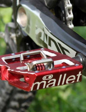 Atherton runs clipless pedals from Crankbrothers but runs her pins very shallow. According to team mechanics, she really likes to be able to move around a fair bit on the pedals while careening downhill