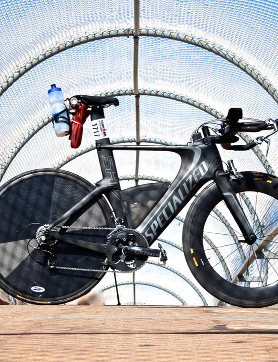 For the Ironman Boulder, I used a test Specialized Shiv Pro Race with borrowed Mavic CXR 80 front and Zipp rear disc wheels