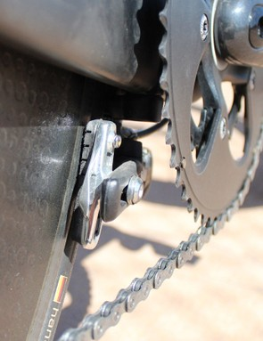 The Magura hydraulic caliper has remarkably more power than your typical TT bike brake. Like all calipers positioned thusly, adjustment on the fly isn't possible