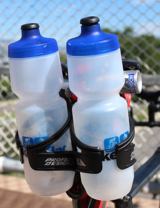 The Shiv comes with a single saddle-mount cage. I put on the double Profile Design to avoid the sketchy aid stations (triathletes + hands-ups = bottles everywhere) and keep rolling