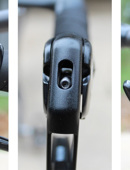 The lever's adjustment is great, too; the quick release flips open (at right) for wheel removal, and pad contact is adjusted with the Allen bolt at center
