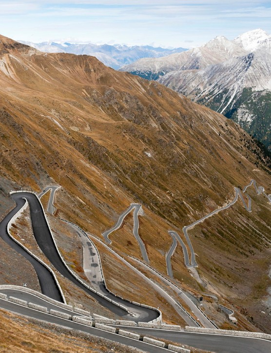 Riders in the first Dolomites Swiss Alps event have this beast, the Stelvio Pass, to contend with on stage 4. In a time trial, too