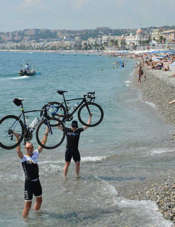 Taking a dip in the sea in Nice is always on the minds of Alps riders