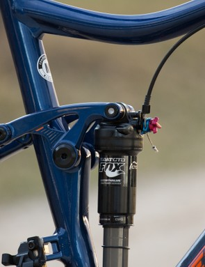 While this picture shows the cable coming from the top tube, the production version will have the rear shock cable loop back behind the shock to prevent cable migration