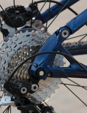 A closer look at the One-Twenty's 142x12mm thru-axle and reinforced derailleur hanger that mounts from the inside