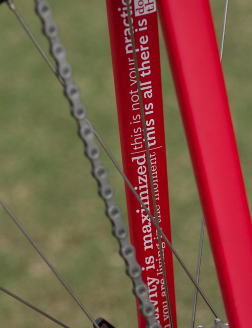 This Ruby frame is covered front to back with lululemon mantras…