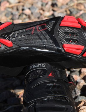 The tread is more generous than the XC90 model but make no mistake - these are best used for pedaling, not walking. The tread material is quite hard and slippery on rocks and roots. There is, however, a rubber coating in the middle to provide a bit of purchase should you miss your pedal