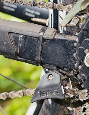 The chainstay-mounted guide helps secure the chain in the rough
