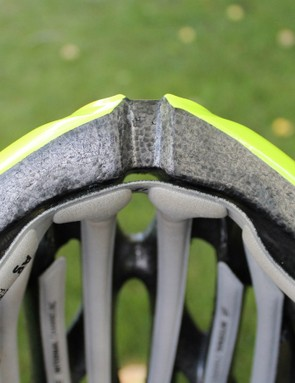 The continuous forehead pad suspends the helmet slightly off the front of the head
