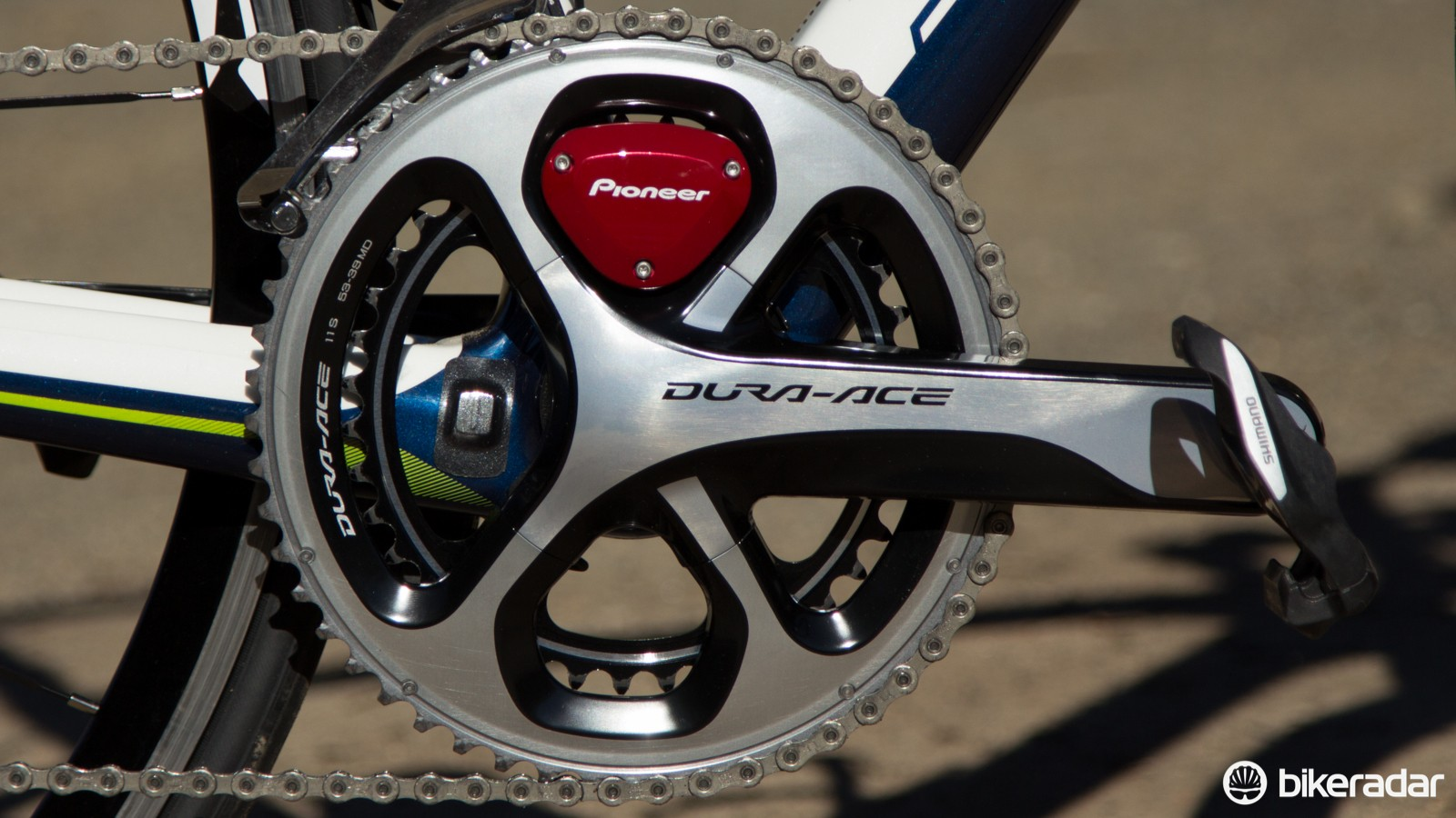 The Pioneer Power Meter Gen-2, available for Shimano Dura-Ace 9000 and Ultegra 6800 only at the moment